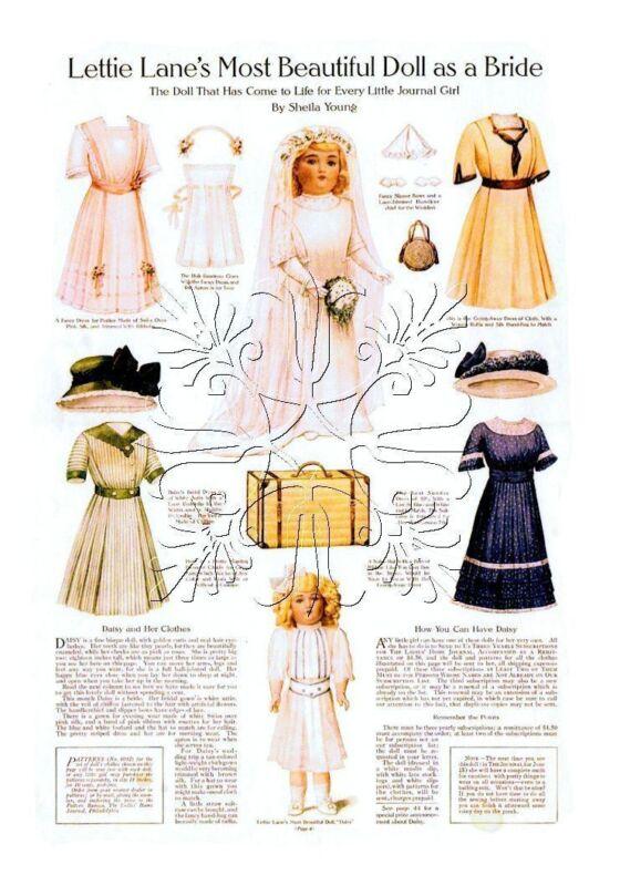 """6012 Lettie Lane - Daisy Doll 6 Patterns LHJ-Set 18"""" Wedding Dress Trousseau"""