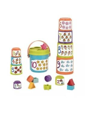 BATTAT Sort & Stack Nesting Cups – Educational Stacking Cups & Numbers BRAND NEW