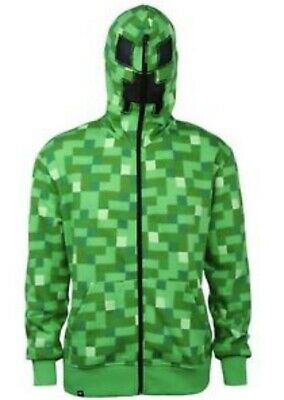 Boys Minecraft Creeper Jacket Large Hoodie Costume Youth Green New Jinx Zipper