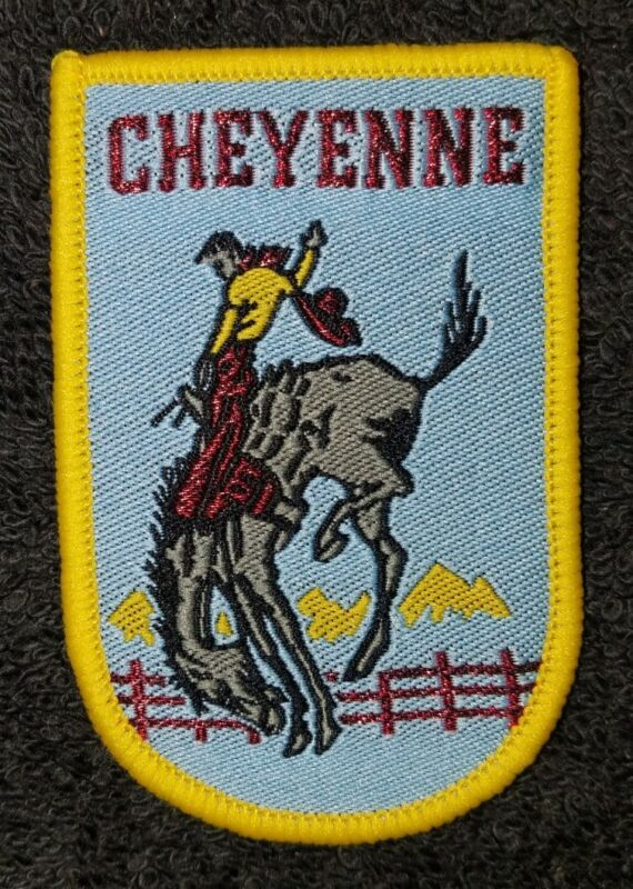 Vtg Cheyenne WY Wyoming Frontier Days Bronco Busting Rodeo Western Patch