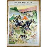 1899 newspaper w Large Color poster Victorian-era Man & Woman HORSEBACK RIDING
