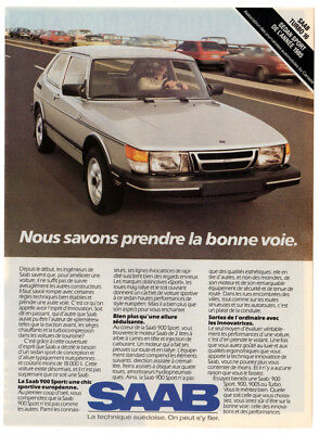 1985 SAAB 900 Turbo 16 Vintage Original Print AD - Gray car photo Canada French for sale  Quebec