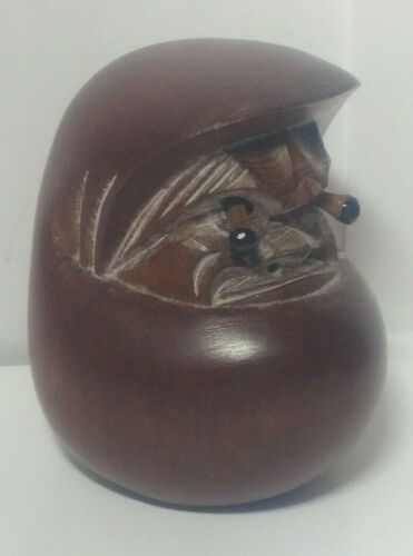 Vintage Japanese Kobe Carved Wood Daruma Doll With Pop Out Wooden Eyes