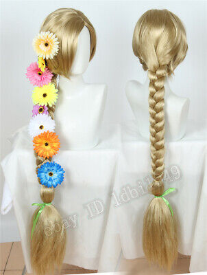 Rapunzel Wig With Flowers (Princess Rapunzel Wig with 8 Flowers Tangled Long Braid Halloween Cosplay)