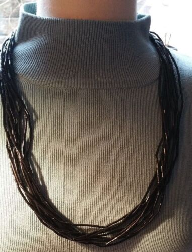 """Sterling Liquid Onyx 10 Strand Waterfall Necklace 30"""""""