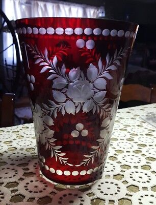"""ANTIQUE ♡ RUBY RED CUT TO CLEAR ♡ ETCHED  ROSES  FLOWER VASE  8.75""""Tall X 6.25"""""""