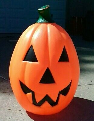 "Vintage 22"" Empire Halloween pumpkin blow mold Lighted yard decoration orange"