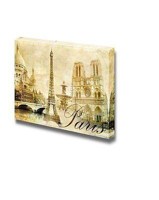 Canvas Prints Wall Art - Amazing Paris - Vintage Clipart (eiffel) - 24