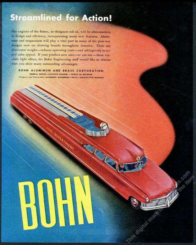 1945 streamlined modern future fire engine truck GREAT art Bohn vintage print ad