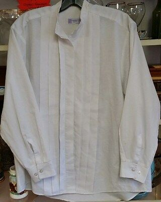 CLERGY NECKBAND SHIRT WHITE LADIES 13/14 LS PLEATED FRONT POLY COTTON C M ALMY