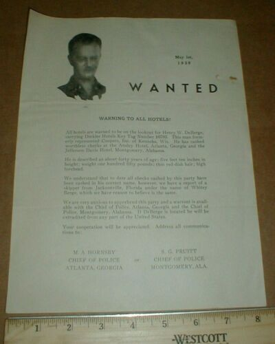 VTG Atlanta GA Montgomery AL Police Dept 1939 Wanted Poster Robbery H W DeBerge