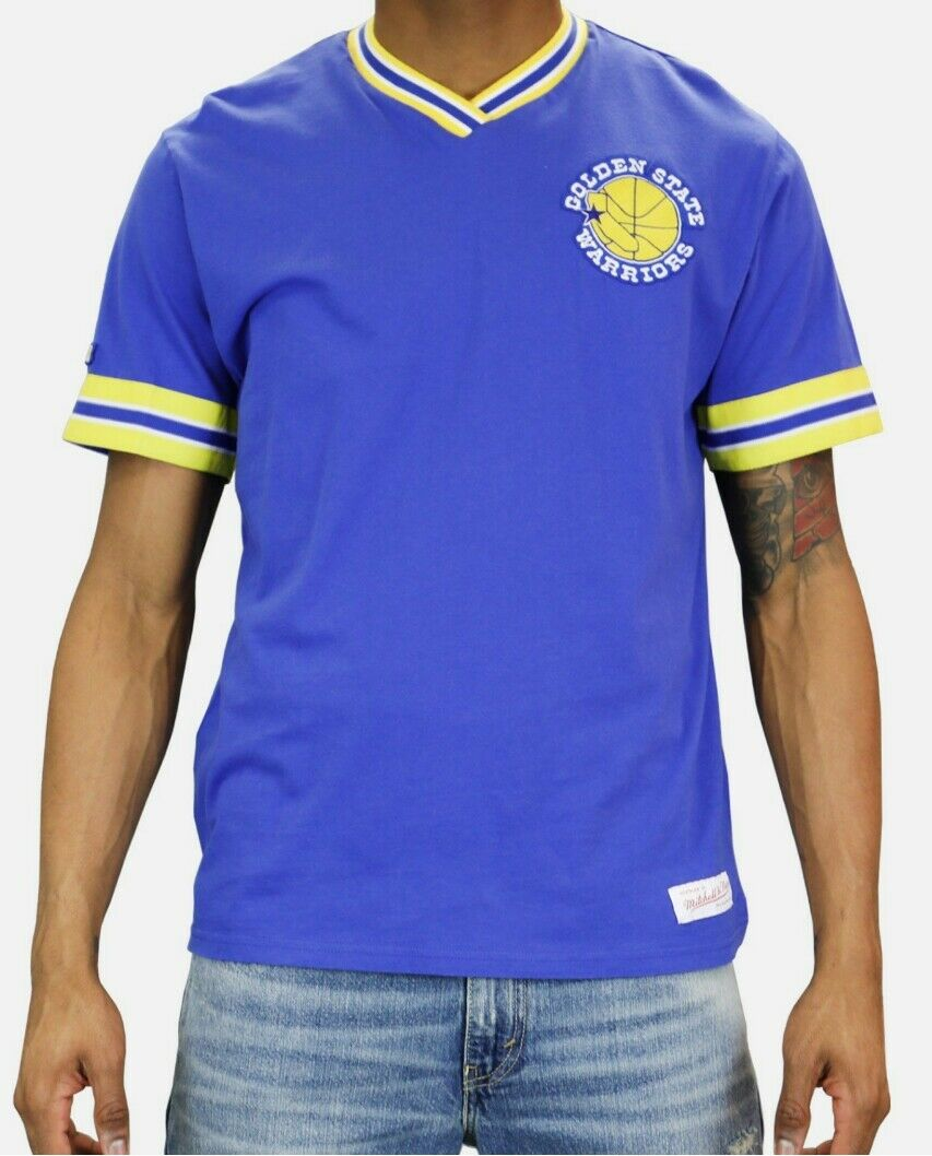 Mitchell /& Ness Golden State Warriors NBA PULL OVER Mesh V-Neck Jersey ROYAL