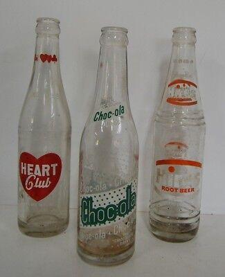 Vintage LOT OF 3 Choc-ola Heart Club Hires Root Beer Glass Soda Pop Bottles
