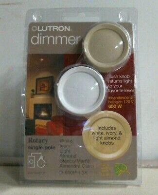 Lutron D-600PH-3K, Dimmer, White, Ivory, And Light Almond Knobs, FREE SHIPPING  Light Almond Knob