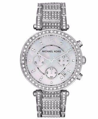 Michael Kors MK5572 Parker Silver Tone Glitz Chronograph Wrist Watch FreeShippin