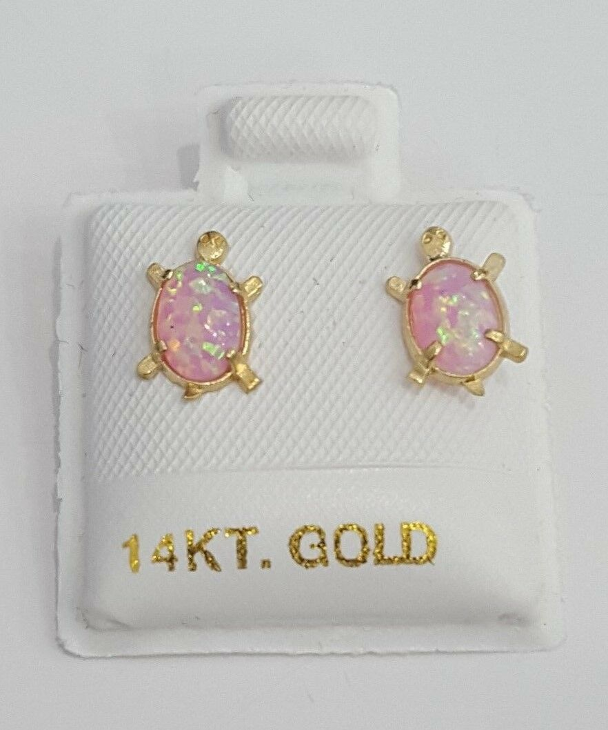 Child Baby Kids Pink Opal Turtle Stud Earrings 14k Yellow...