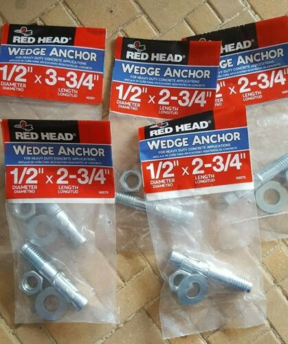 """1/2""""x 2-3/4"""" Concrete Red Head Wedge Anchor. Pack of 5"""