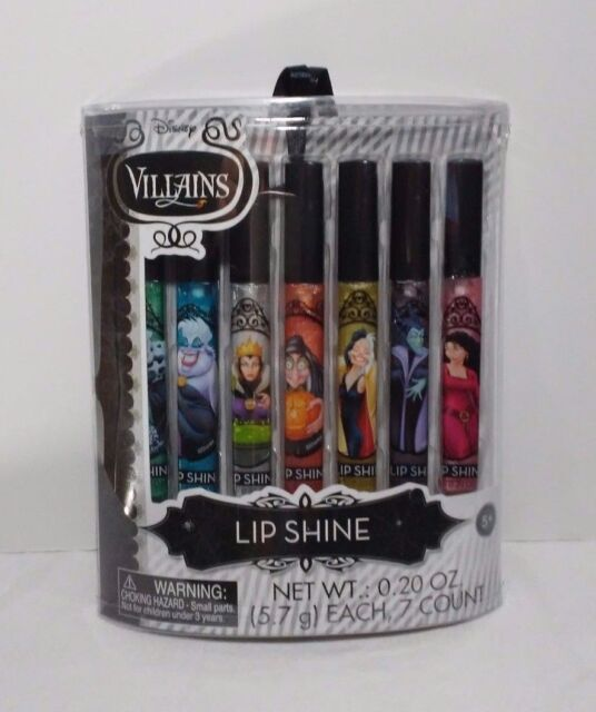 Disney Villains MALEFICENT URSULA Lip Shine 7 Piece Gift Set Girls Ages 5 & Up
