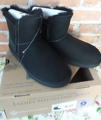 Black Shearling Boots 100% Australian Sheepskin Cuffable Never Worn, NIB Sz US 9