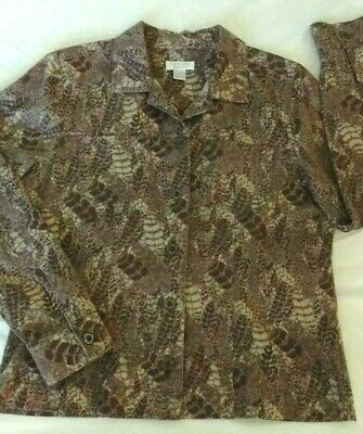 Christopher & Banks Womens Jean Jacket Small Beige Brown camouflage like Print