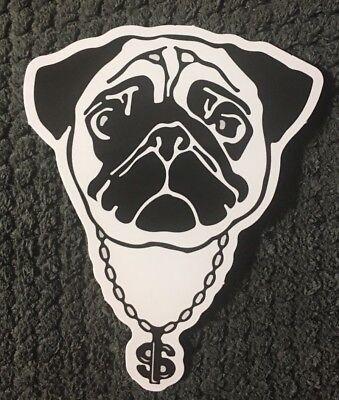 "Pug Thug Life dog skateboard vinyl sticker decal 2 1/2"" x 3 1/4"" Ships from US"