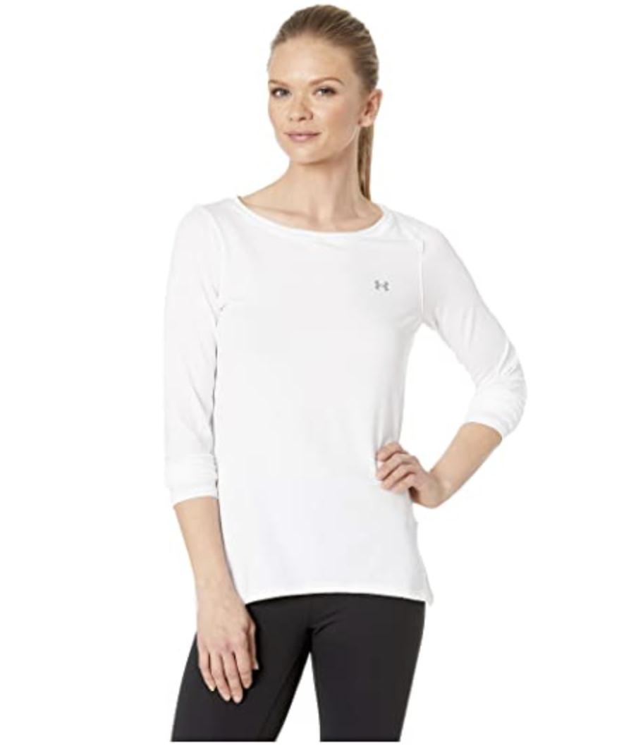 UNDER AMOUR Green Shirt Rash Guard HeatGear- White Athletic