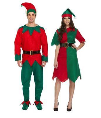 New Christmas Fancy Dress Adult Elf Costume Outfit Male & Female Santa Helper HB