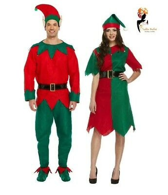 ADULT ELF COSTUME Ladies & Men's Couples Santa Helper  Fancy Dress Lot Outfits  - 1980s Couples Halloween Costumes
