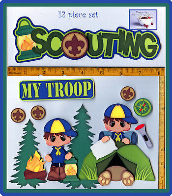 SCOUTING ~ cub boy scouts premade scrapbook pages 12 pc 3D paper piecing CHERRY