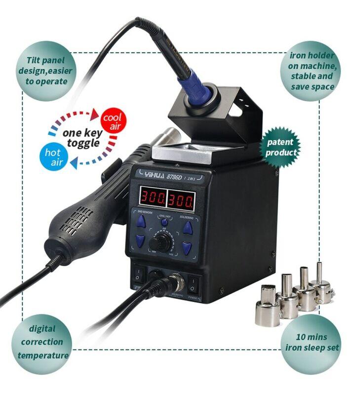 Electric Soldering Station Hot Air Heat Welding Gun 110V Desoldering Tool USA