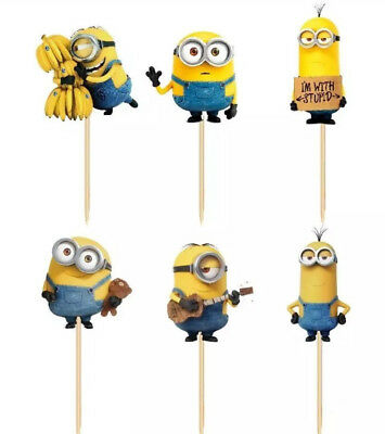 24 MINION CUP CAKE TOPPERS-CUPCAKE PICK TOPPER-MINIONS CAKE PICKS-BIRTHDAY PARTY