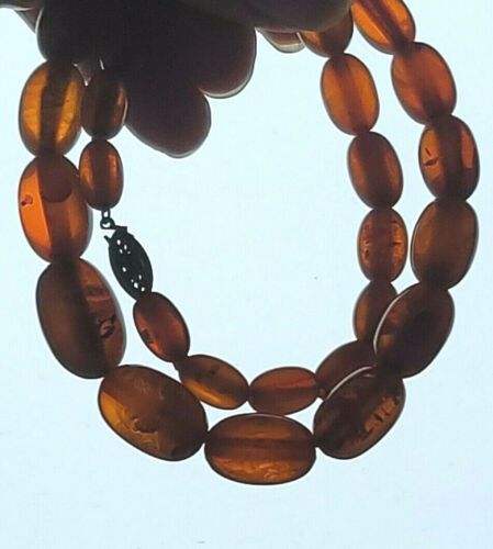 """Baltic Cognac Amber Graduated Oval Bead Necklace 23.9g Ovoid Beads ~17.5"""""""