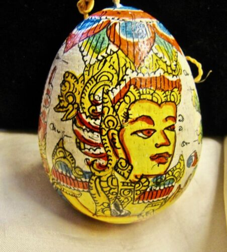 Bali Mystical Hand Painted Egg Shaped Hanging Decoration