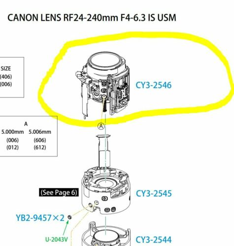 Canon RF 24-240mm F/4-6.3 IS USM Lens - 4-6th Group With USM Parts CY3-2546