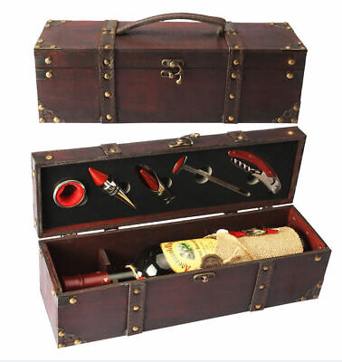 Antique Style Wooden Gift Chest w/Wine Accessories