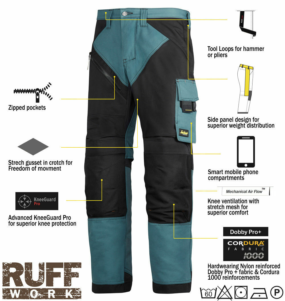 NEW 6203 Snickers Petrol Blue RuffWork, HD Work Pants Holste