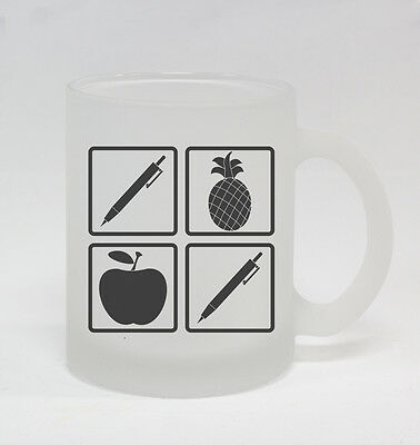 Pen Pineapple Apple Pen #288 - Funny 10oz Frosted Glass Coffee Mug Piko-Taro