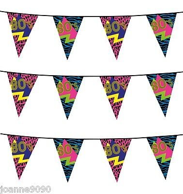 6m 80s Partyware Retro Reflex Neon Birthday Party Flag Bunting Decoration Banner