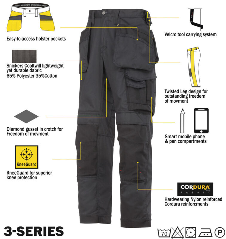 Snickers Lightweight Summer Work Trousers Kneepad Holster Pockets 3211 SnickersD