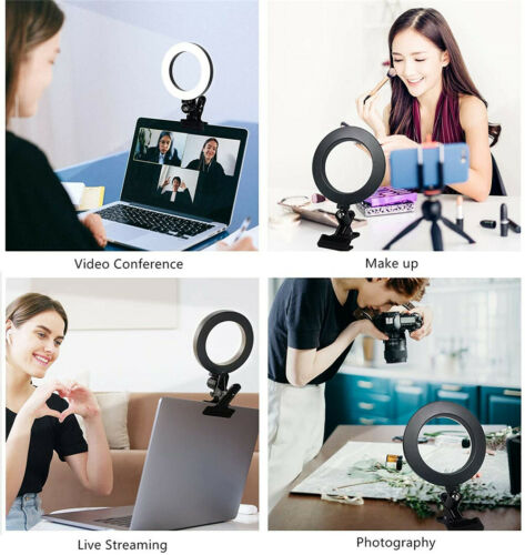 LED Ring Light Dimmable Lighting w/ Clip Clamp on Desktop Bed Table Monitor PC Cameras & Photo