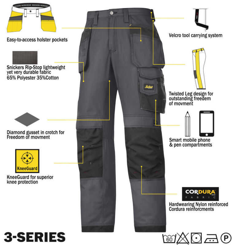 Snickers 3213 Ripstop Trousers SnickersDirect Steel Grey - Black