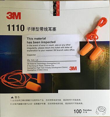 3m 1110 Corded Disposable Foam Earplug Noise Reduction Ear Plugs 100 Pairsbox