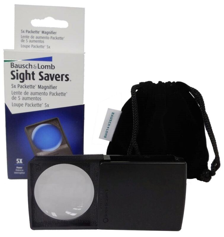 Packette Coin Magnifier 5X Pocket Pop Out New Loupe Stamp Currency Bausch & Lomb