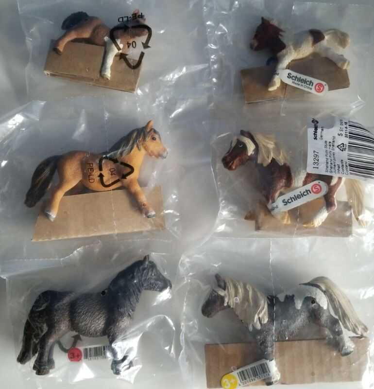 (6) NEW RETIRED Schleich SHETLAND HORSES, Pony Mares, Geldings & Foals #13297+