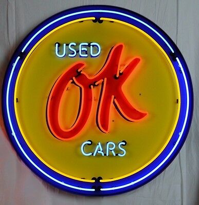 """Giant OK Used Cars 3 Ft. GM 36"""" Round Neon Sign 9CHVOK w/ Free Shipping"""