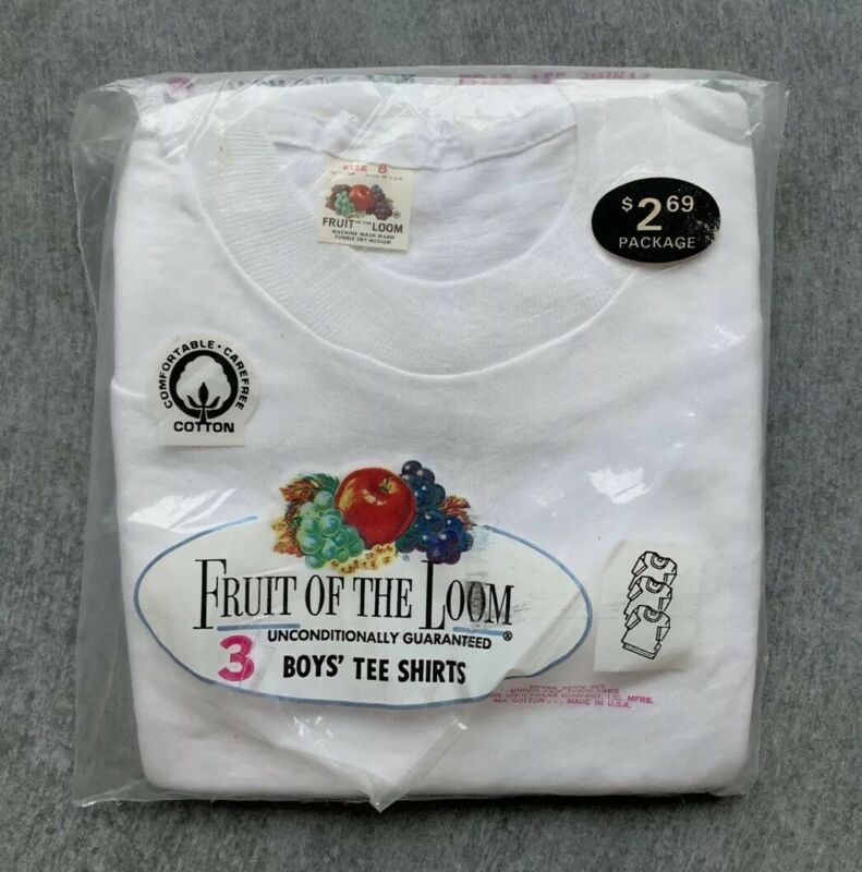 Vintage 1970s Fruit Of The Loom 3 Pack Kids Size 8 White T-shirt DEADSTOCK 70s
