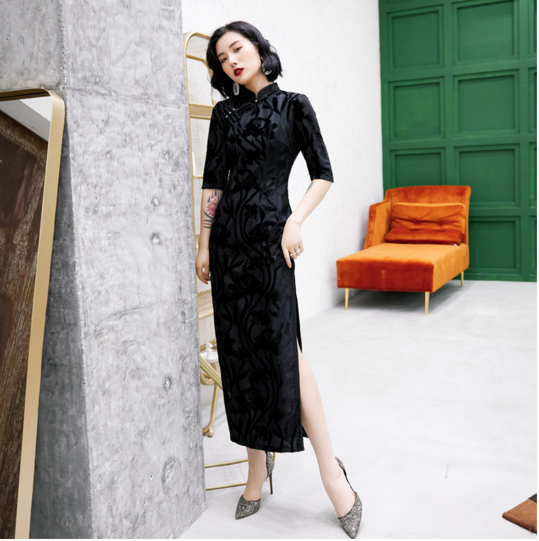 Neu Luxus Sommer Blumen Chinesischer Lang Kleid lcdress19