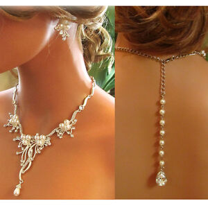 HANDMADE rhinestone pearl back drop necklace earrings bridal jewelry set