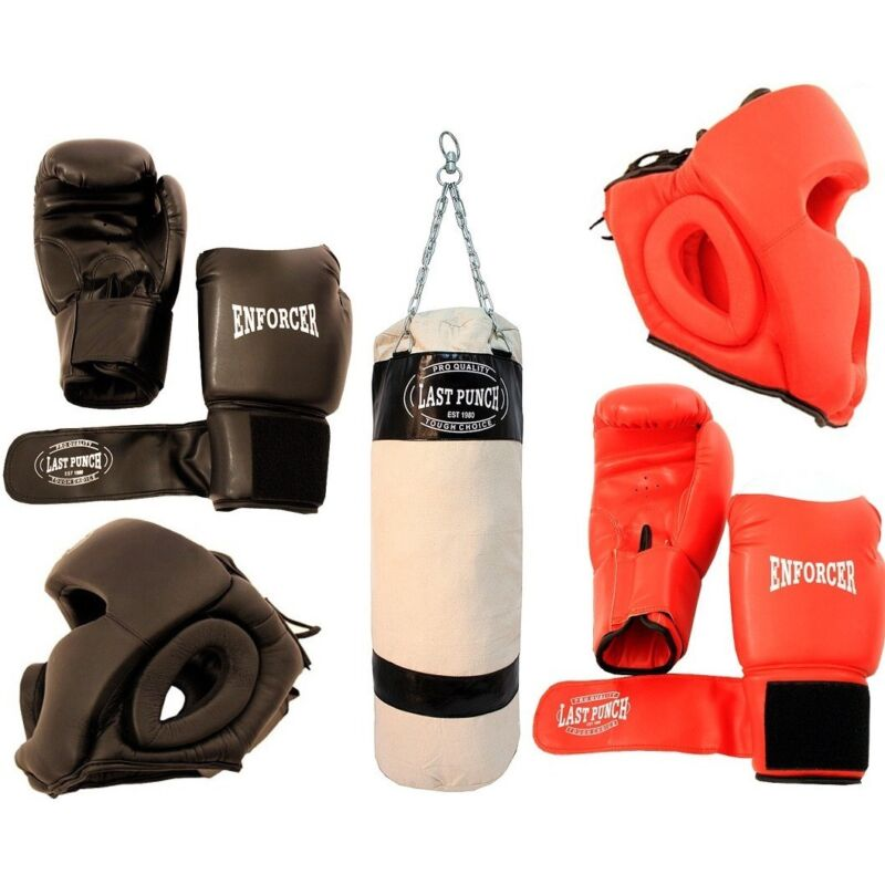 2 PAIRS BOXING TRAINING PRACTICE GLOVES w/ HEAD GEAR PROTECTION & PUNCHING BAG
