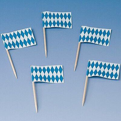 50 Flaggen Picker Oktoberfest blau weiss Bayerische Raute Party Deko